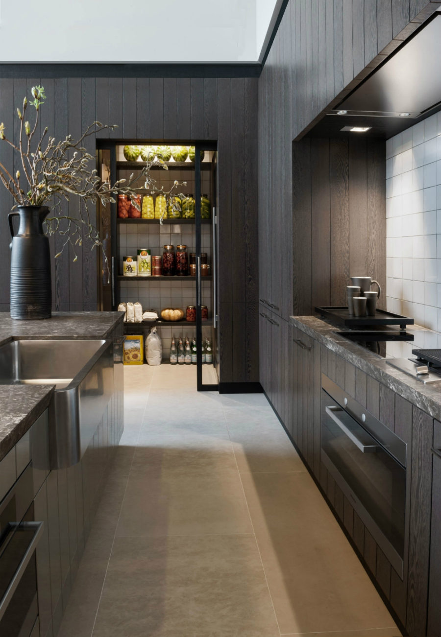 Modern black kitchen pantry