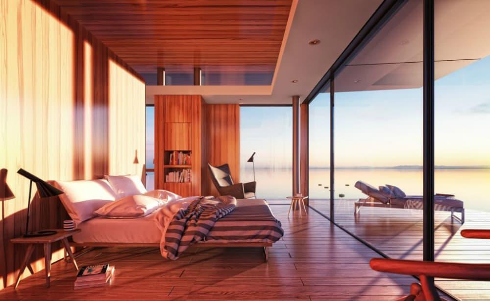 Modern floating house bedroom