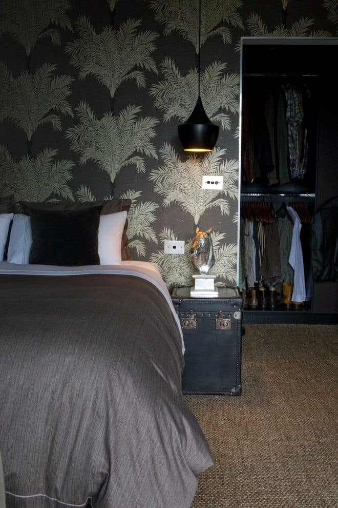 Modern masculine bedroom wallpaper