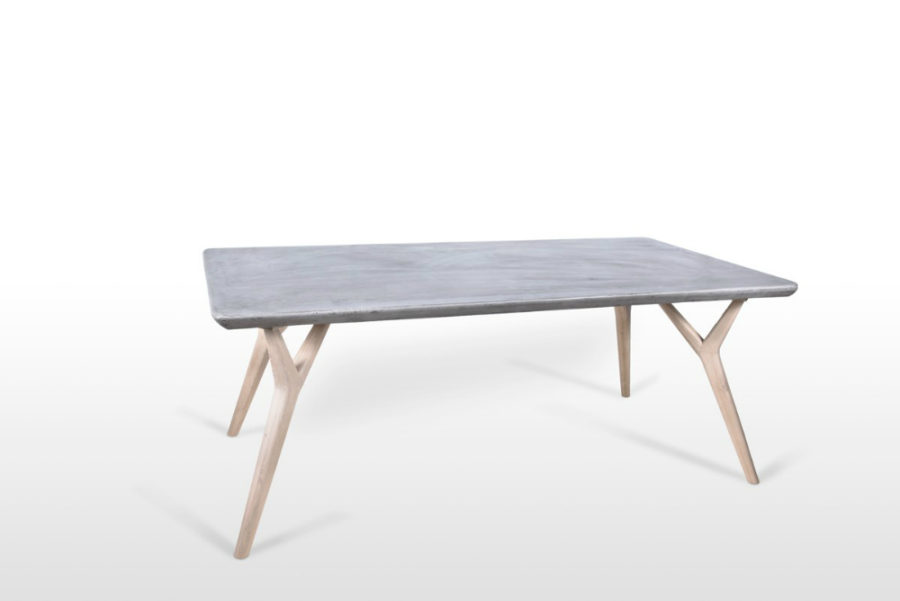 Modrest Dondi Concrete & Natural Oak Dining Table