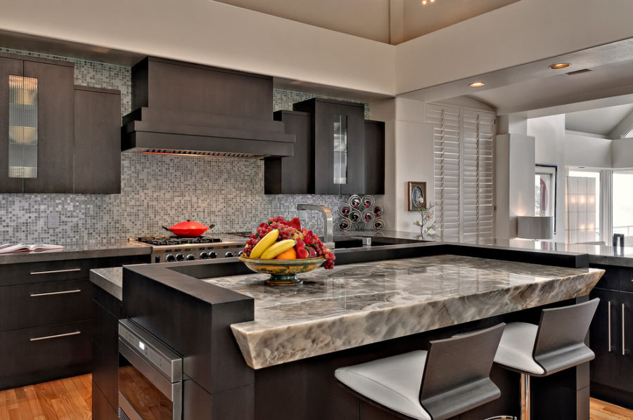 Grey Marble Kitchen Countertop