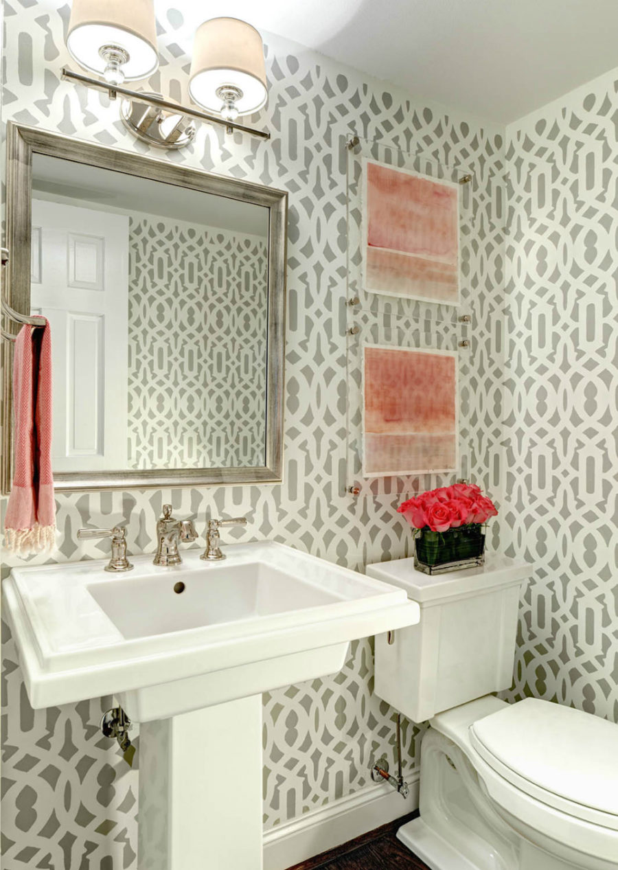 Patterned powder room wallpaper