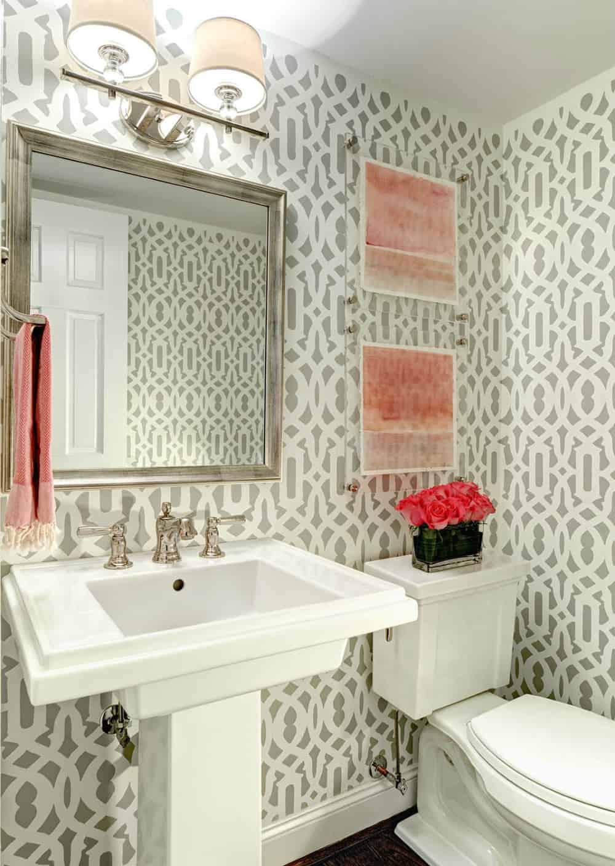 Patterned powder room wallpaper