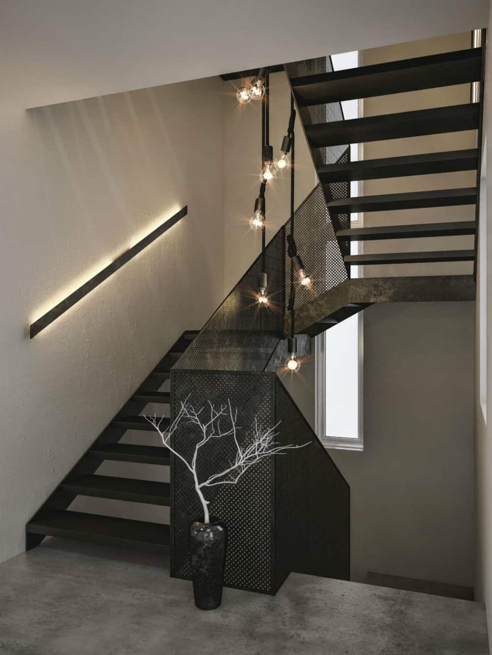 Perforated staircase connects storeys