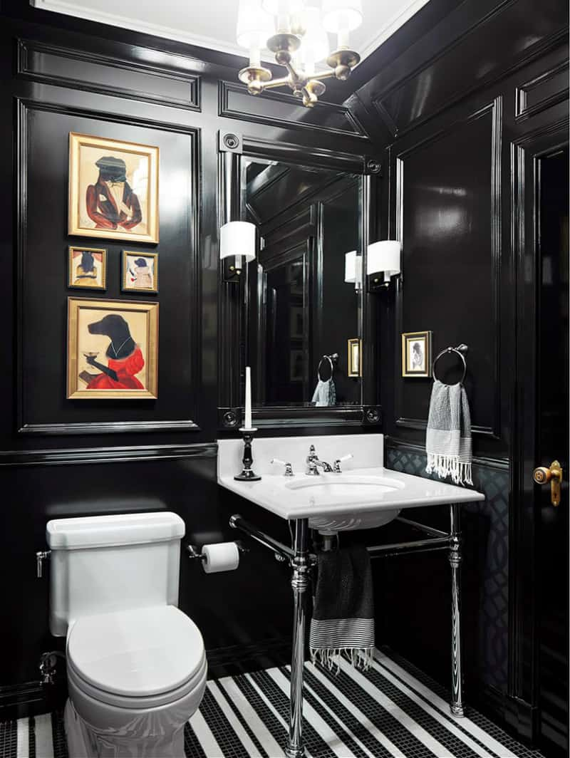 Powder room with black molded walls