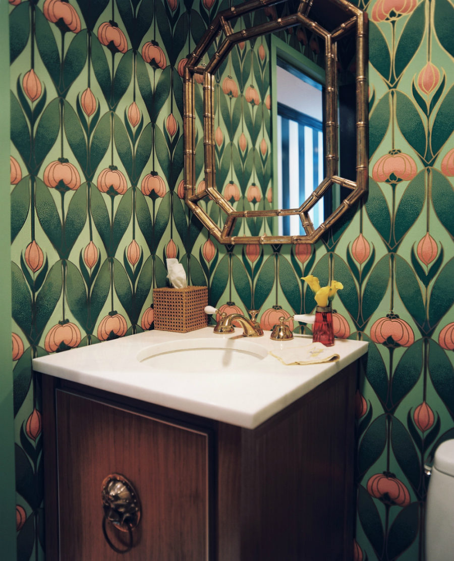 Powder room with retro wallpaper
