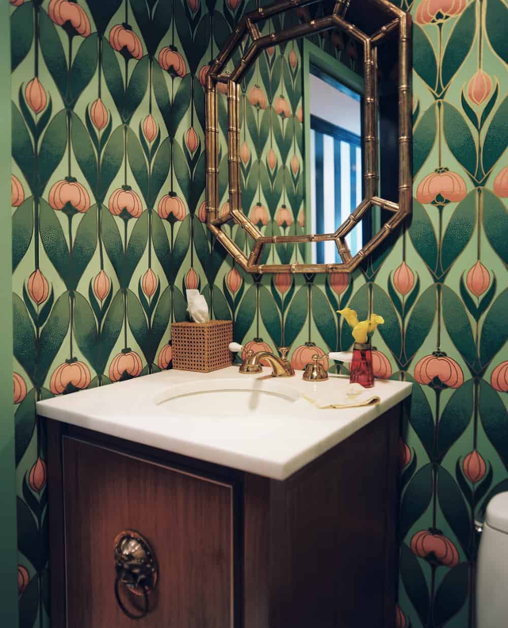 Powder room with retro wallpaper