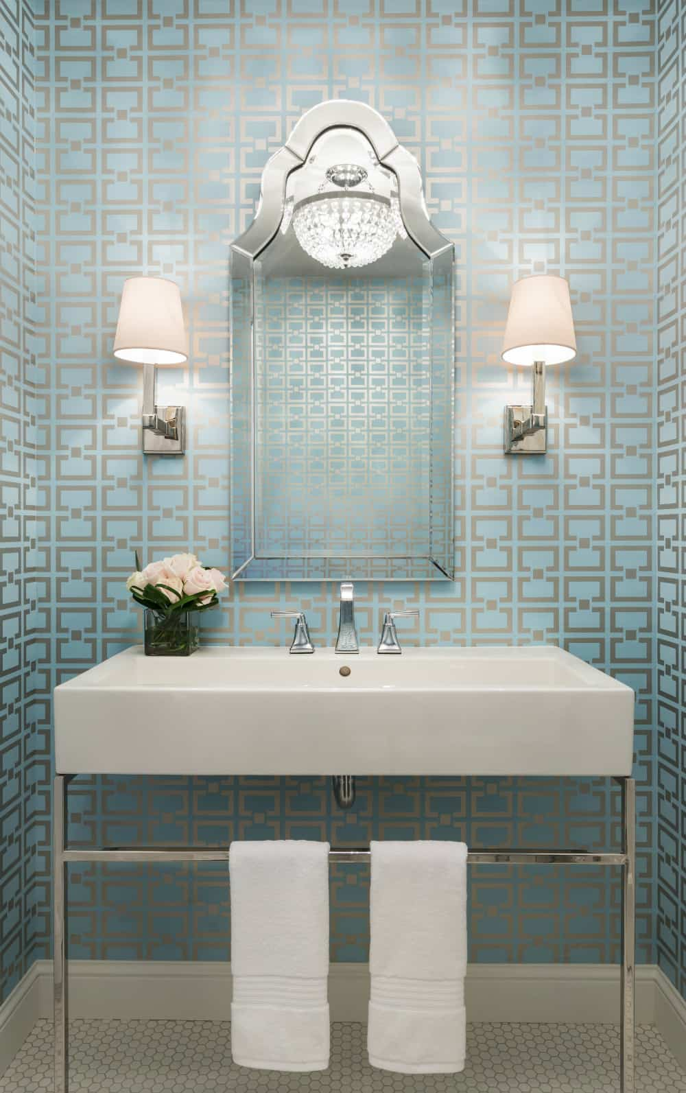 Silver blue powder room
