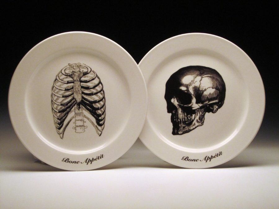 Skeletal BONE APPETIT dinner plates