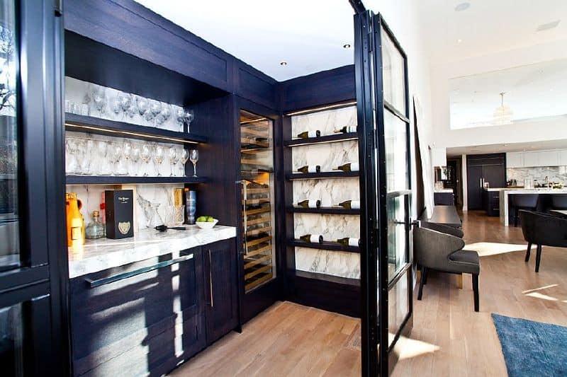 Small bar with wine storage