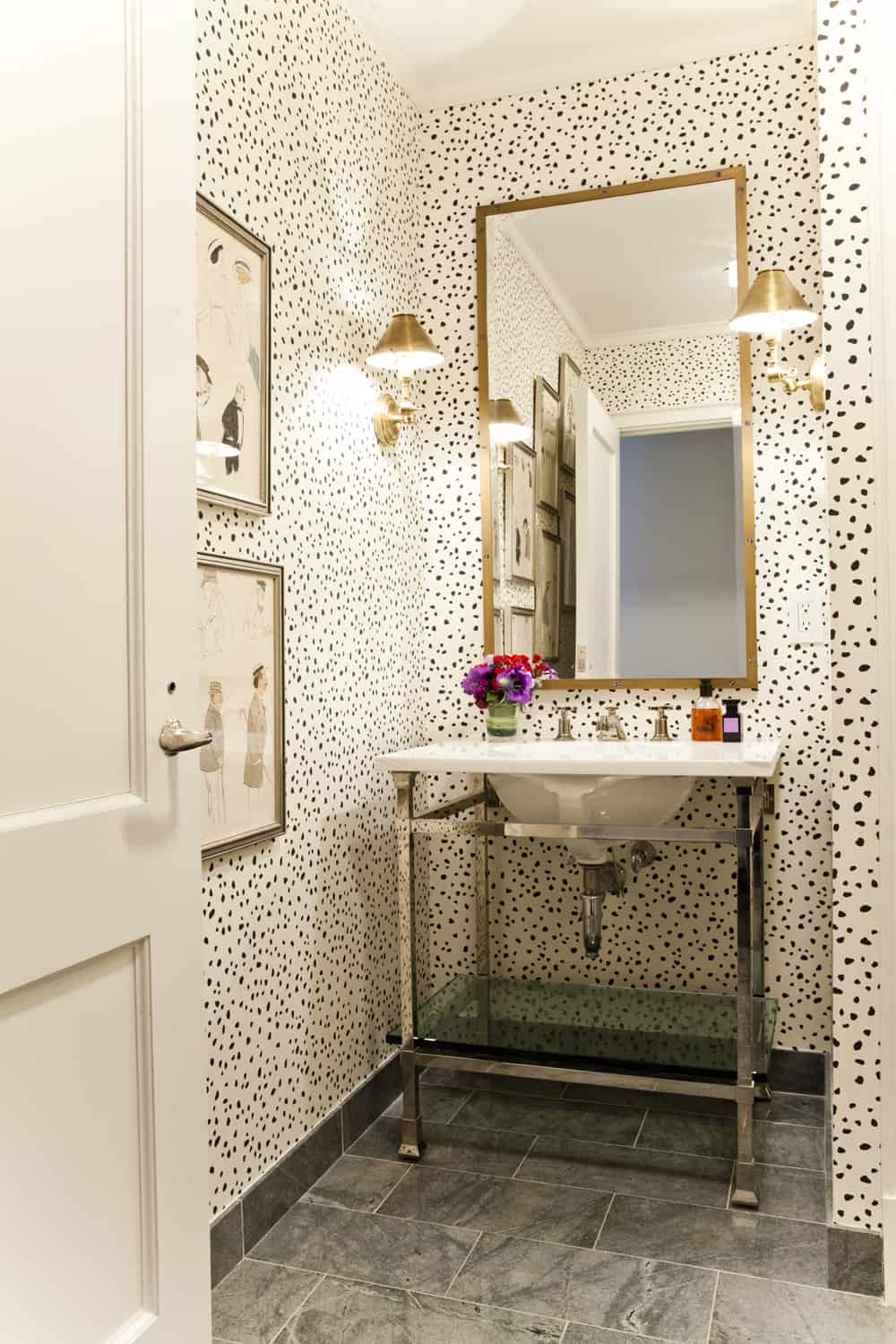 Speckled powder room