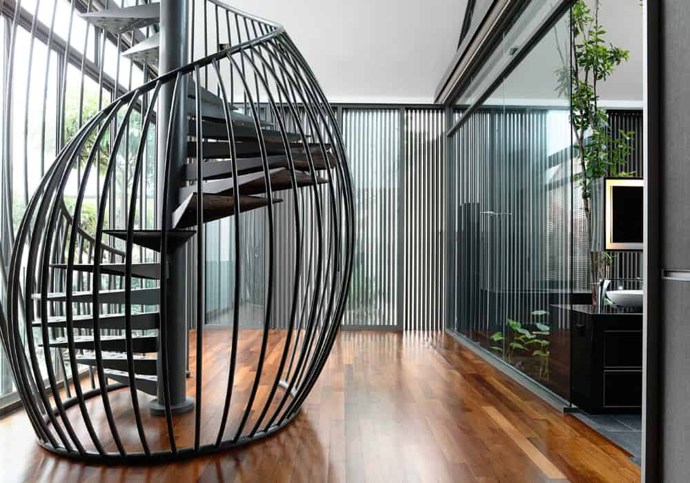 Spiral stairs with metal railing