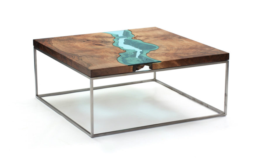 Square Walnut River-Coffee Table by Greg Klassen
