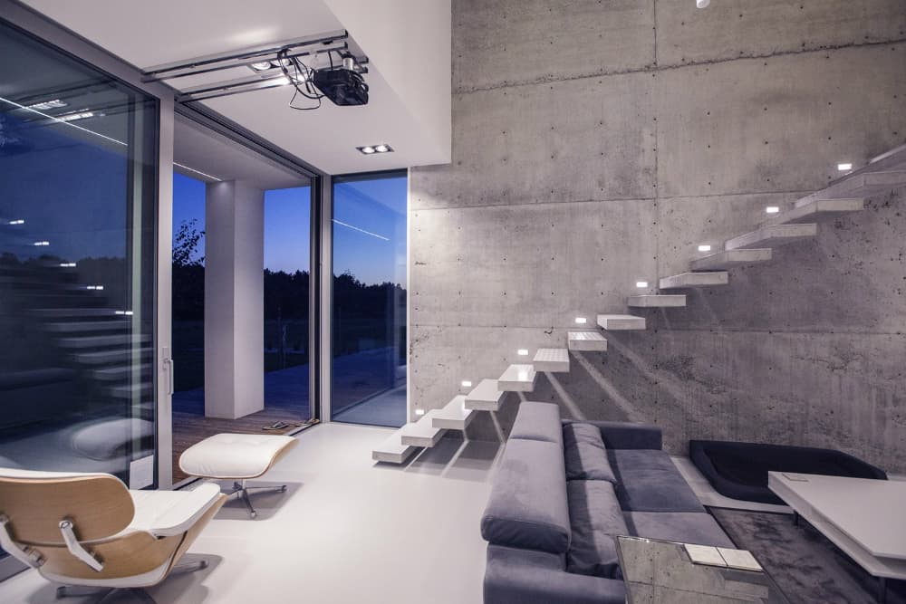 Staicase's built-in lights illuminate the path