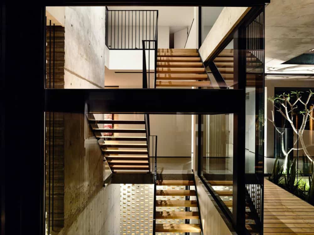 Staircase leads to more private areas