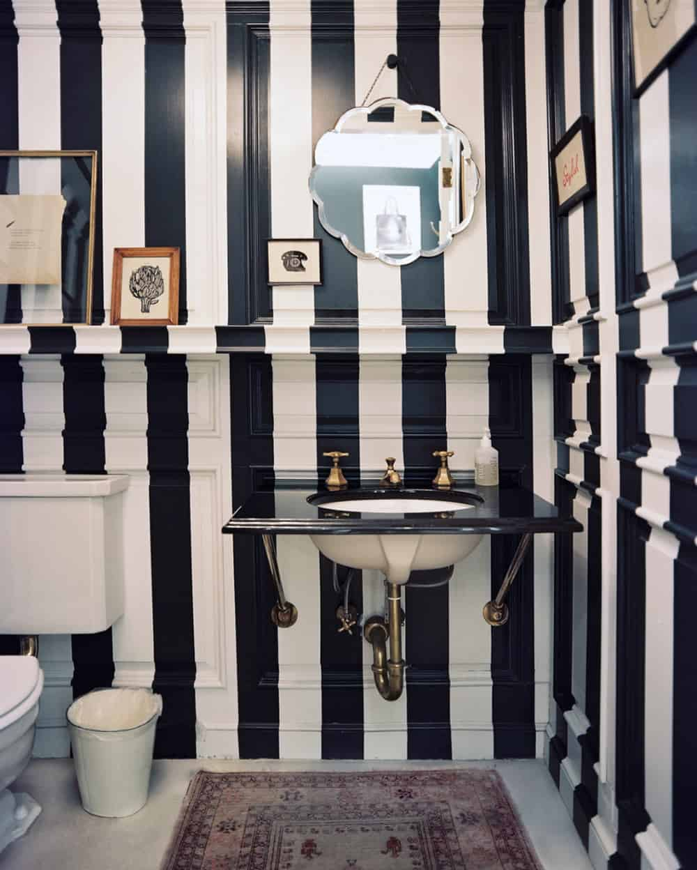 Striped black and white powder room