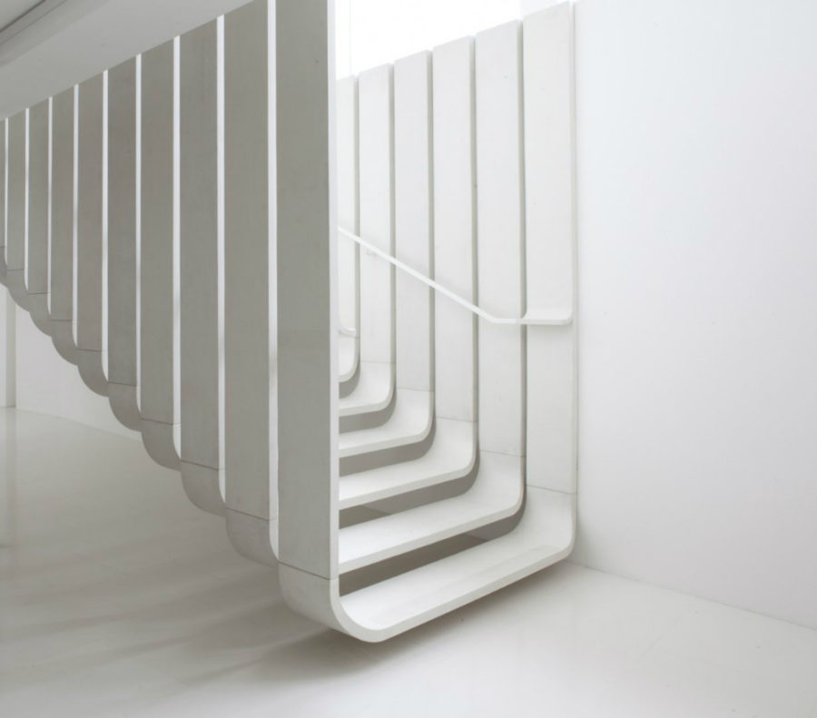 Suspended staircase by Zaha Hadid