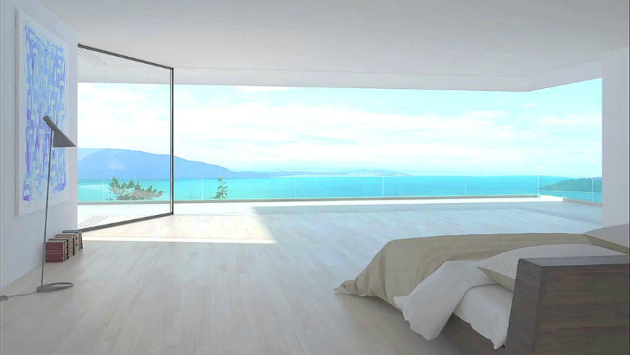 Turntable corner in a bedroom terrace 900x507 Vitrocsa Patio Door Designs Open Your Home to the Entire World