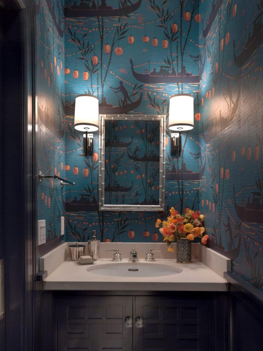 Unique wallpaper powder room design by Ann Lowengart