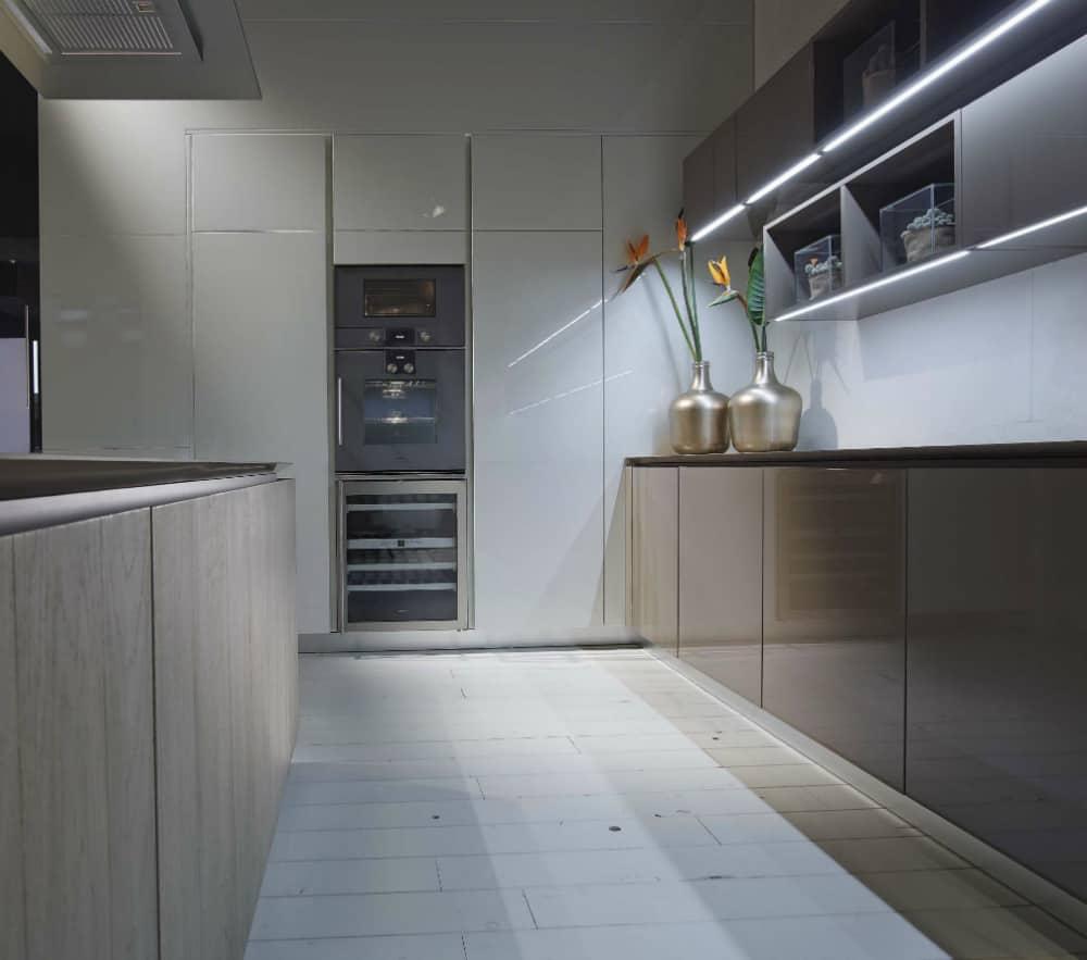 Upper cabinets feature inbuilt ambient lights