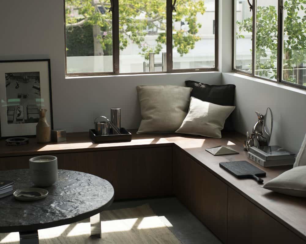 Window storage bench