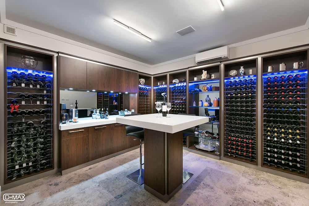 Wine room with blue lighting