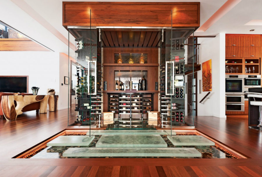 Wooden wine cellar enclosed in glass