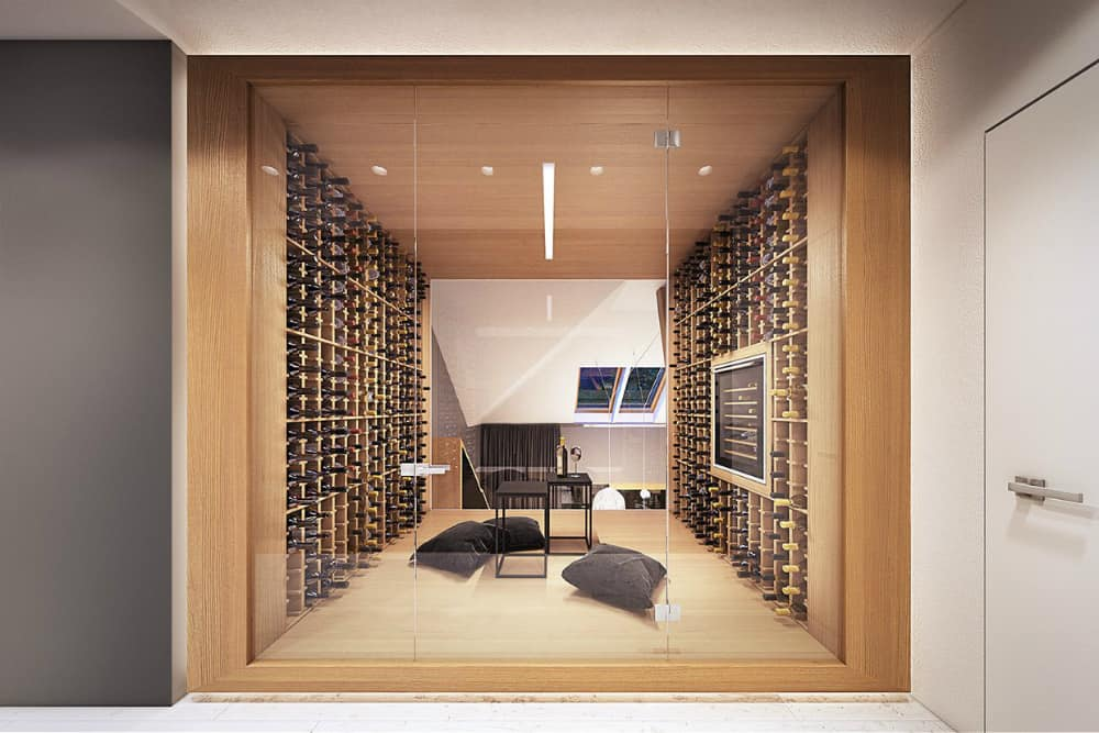 Wooden wine room