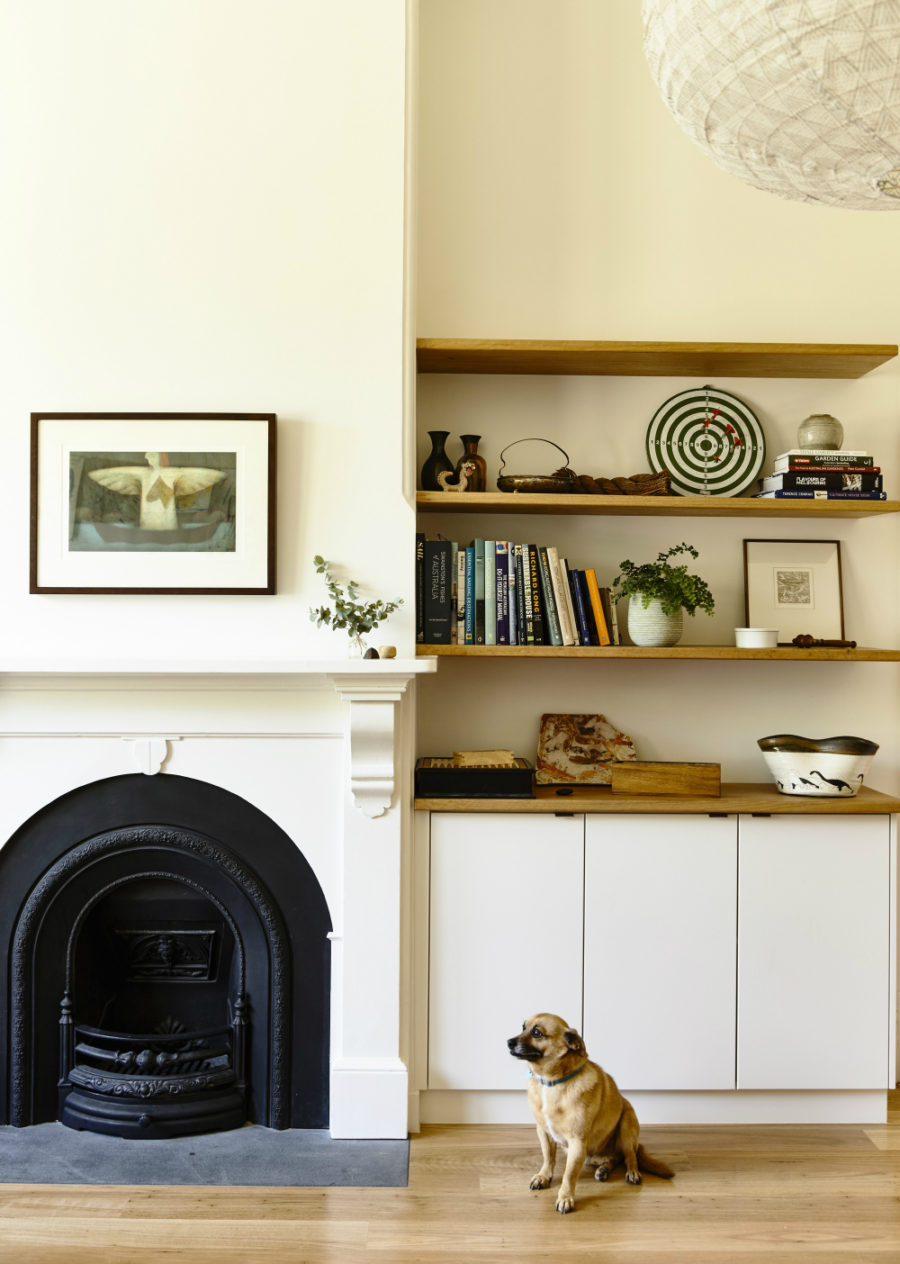 A classic fireplace becomes a design element of the room