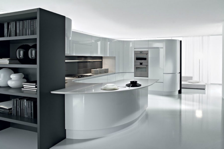 ARTIKA kitchen with rounded peninsula by Pedini