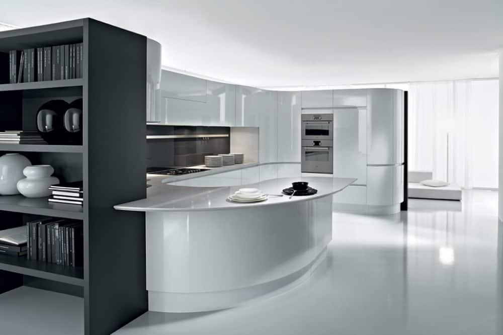 ARTIKA kitchen with rounded peninsula by Pedini