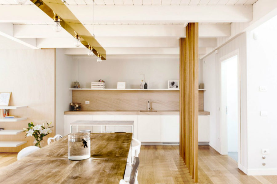 Adjoining sink counter serves as butler's pantry