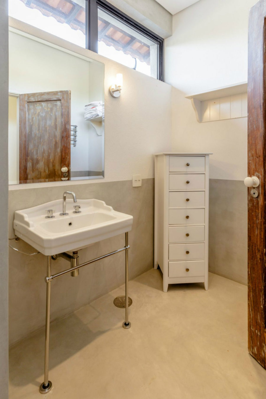 Another bath with a reclaimed wooden door