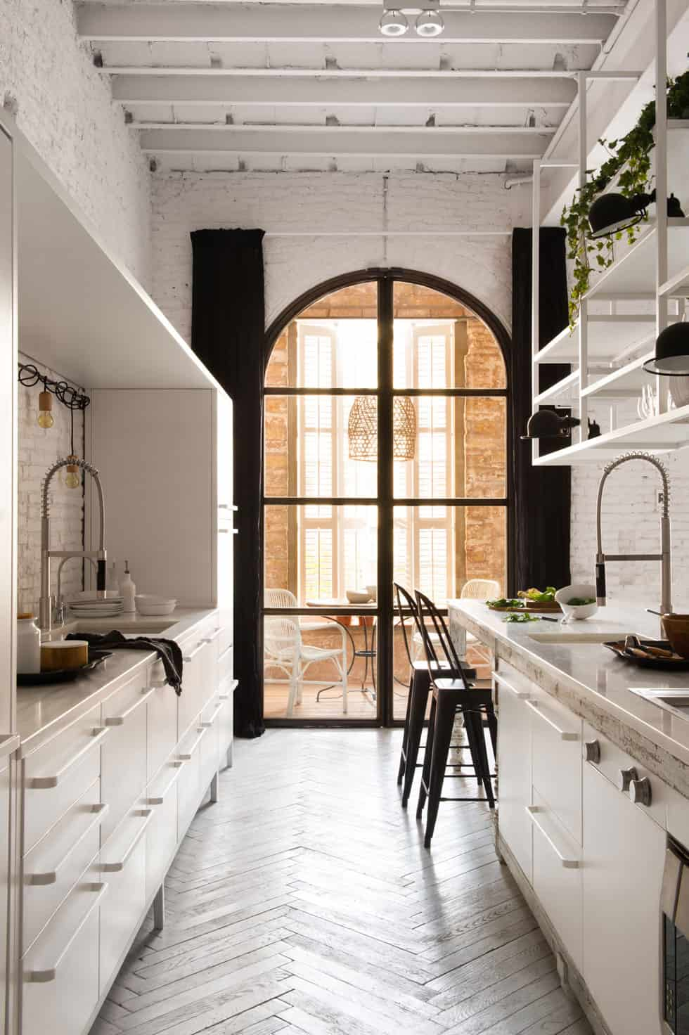 Arched tinted glass door