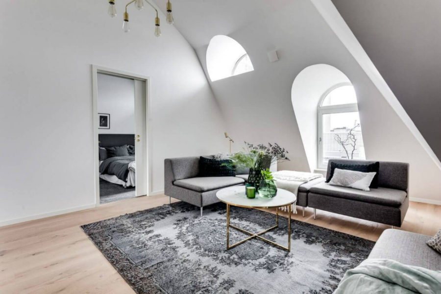 Attic dictates the interior architecture in the apartment 900x600 Attic Apartment in Stockholm Dictates Layout and Style