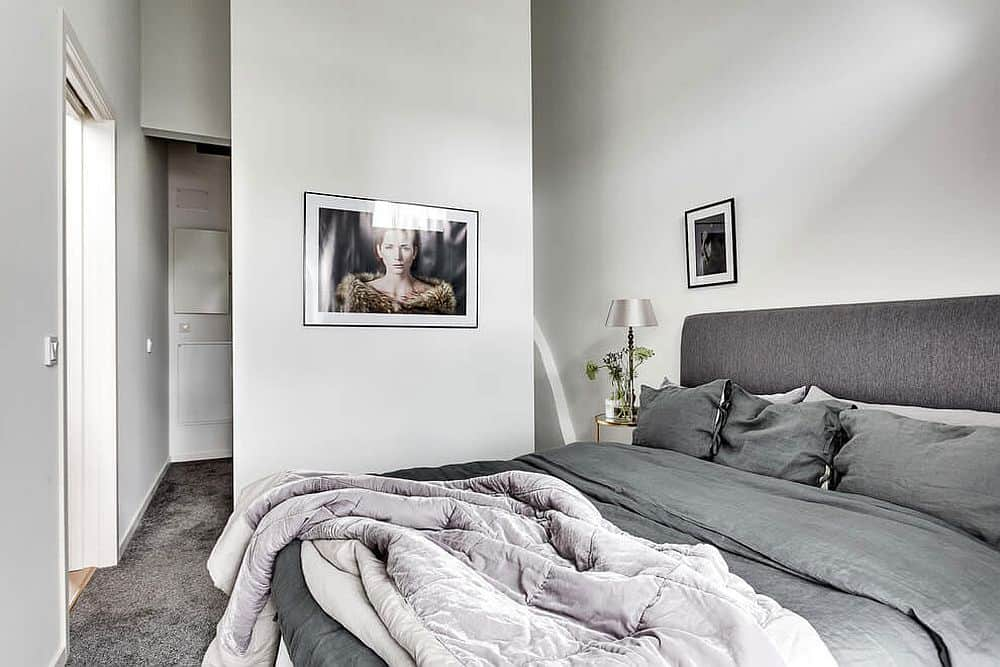 Bedroom enjoys a spacious bed