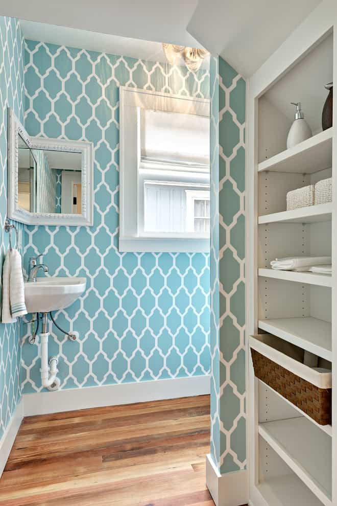 View In Gallery Blue Statement Bathroom Wallpapers Worthy