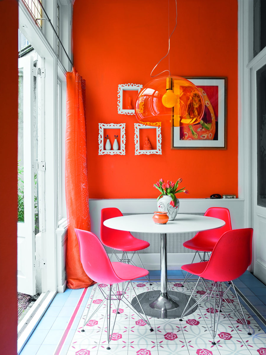 Breakfast nook in neon brights