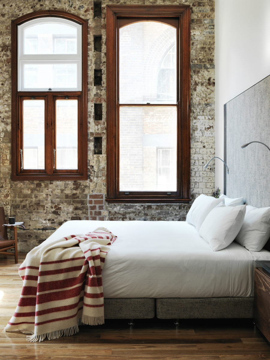 Brick wall room 900x1200 Australias Old Clare Hotel is History in Modern Dress