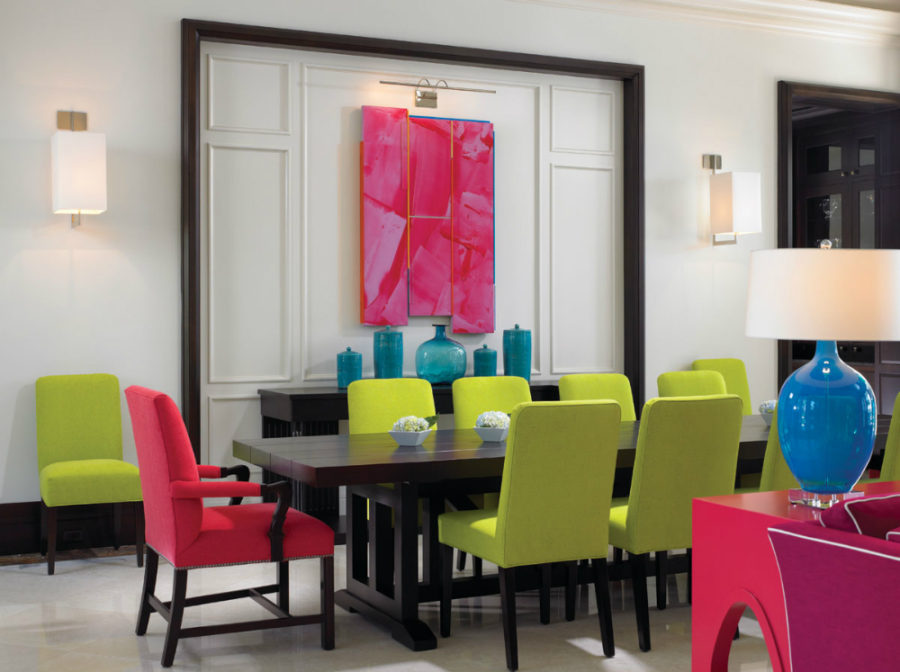 Bright artwork in a bright dining room