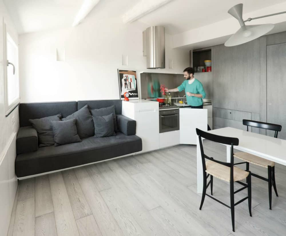 Buil-in sofa in a small apartment kitchen