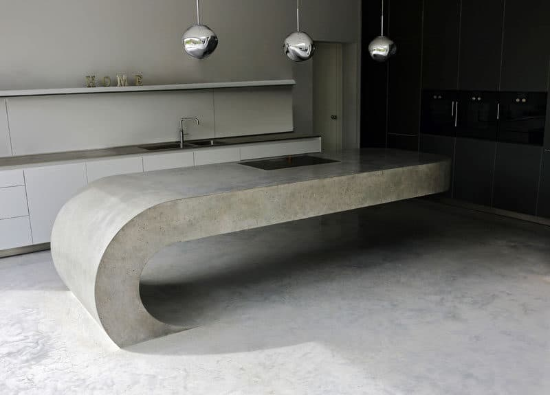 Cantilevered concrete kitchen island