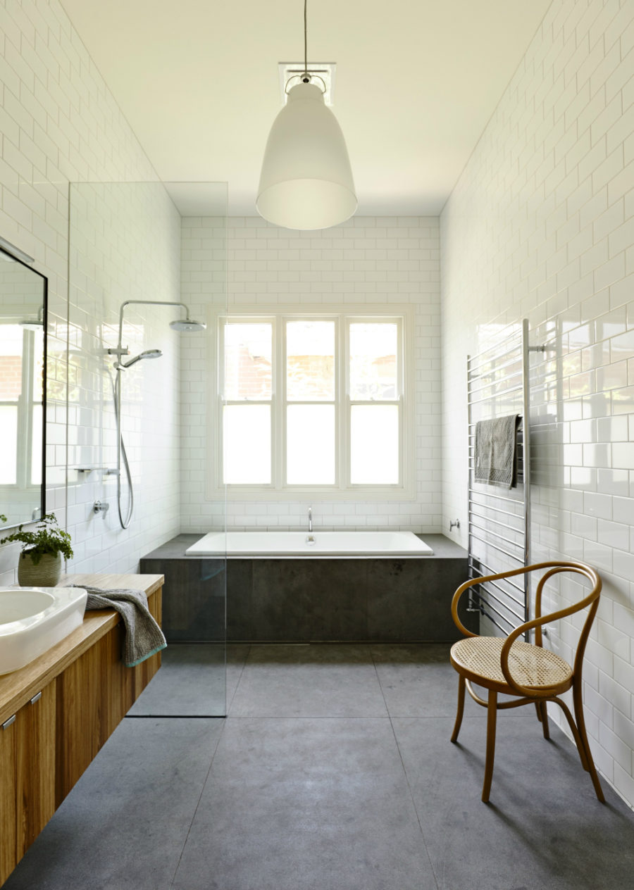 Concrete and wood bath