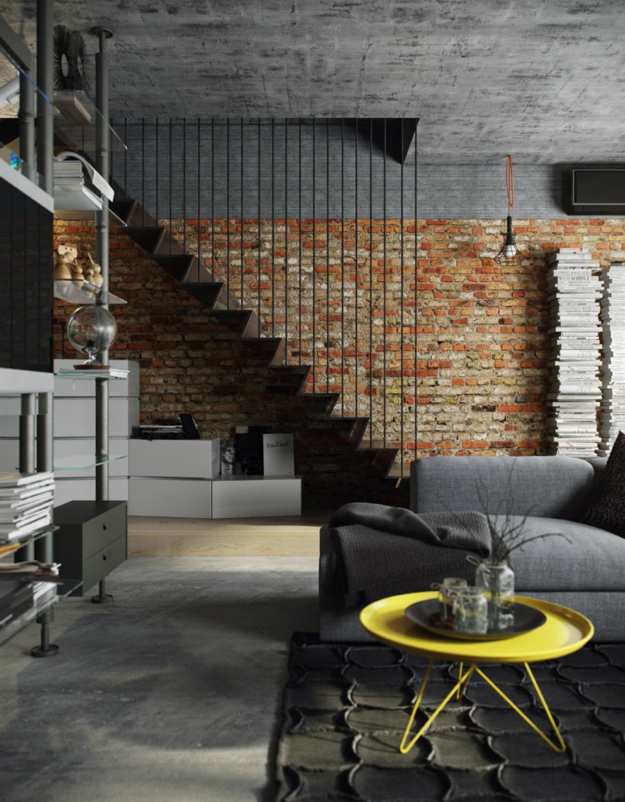 Concrete ceiling and exposed brick wall