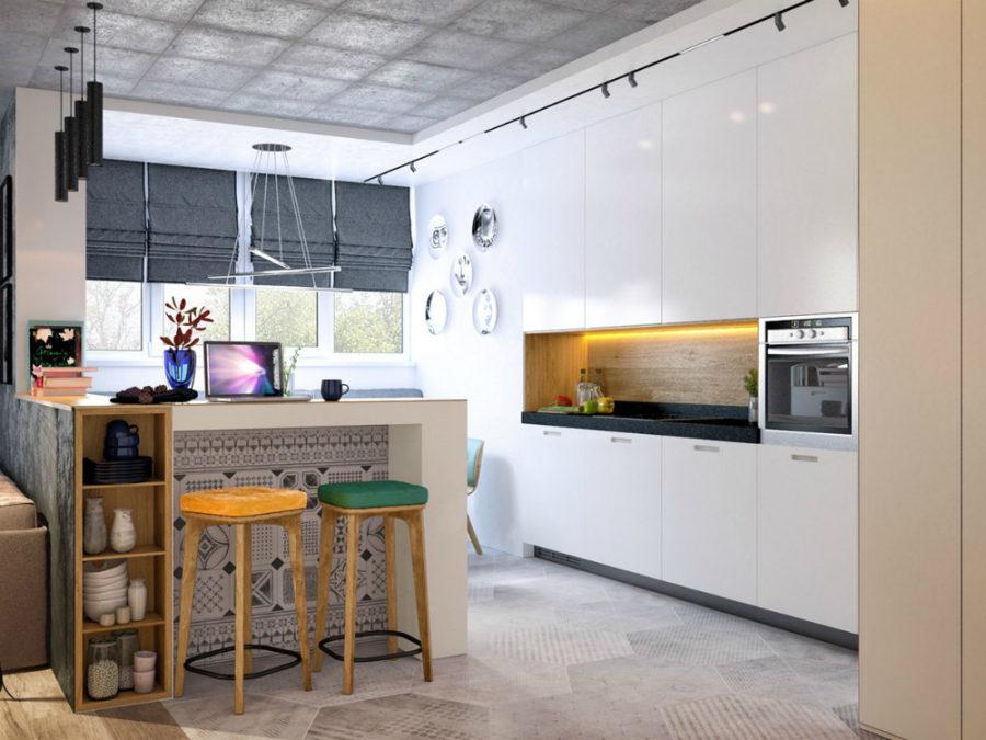 Concrete kitchen ceiling
