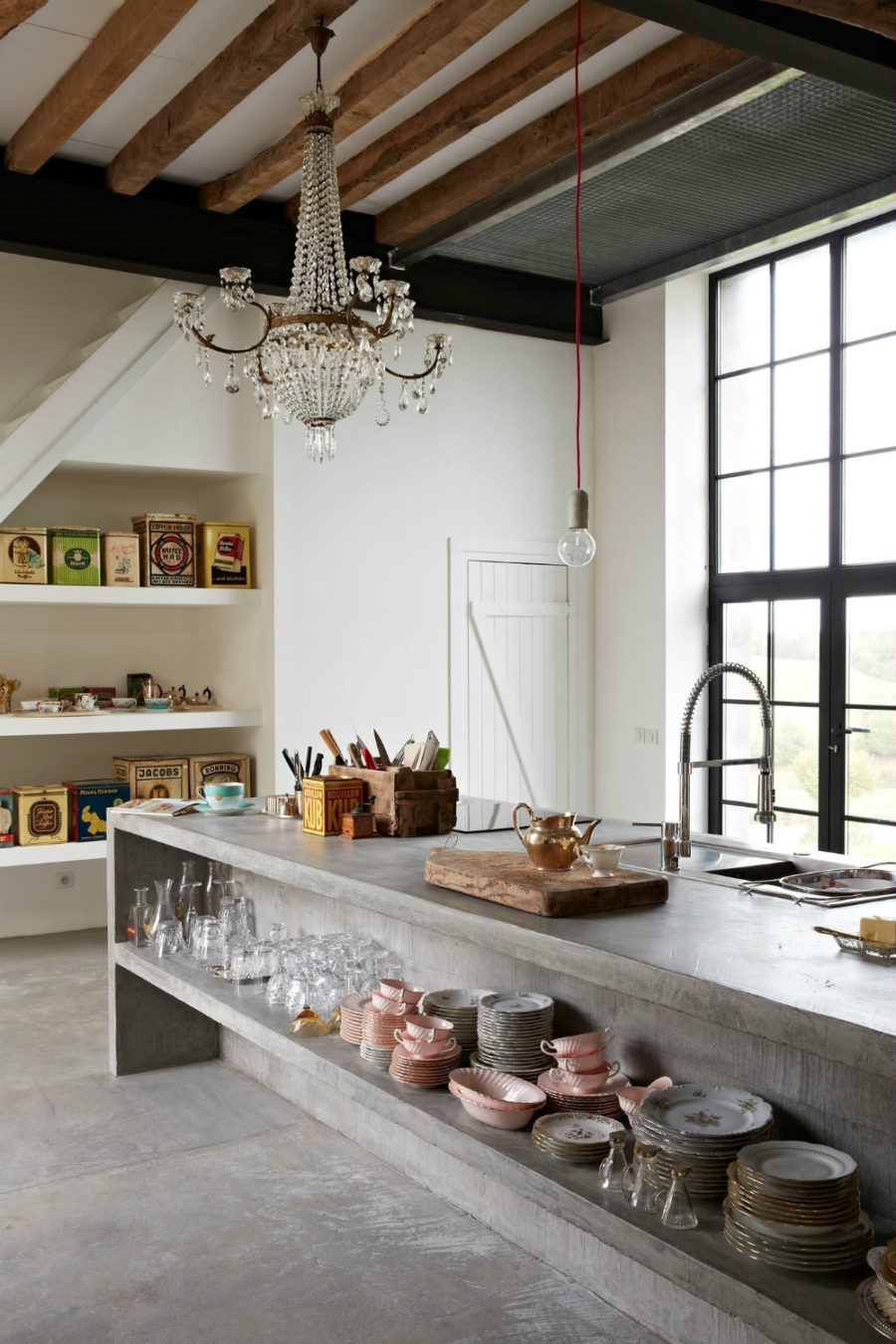 Concrete kitchen island and floors