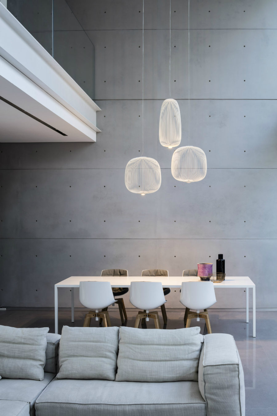 Concrete living dining area