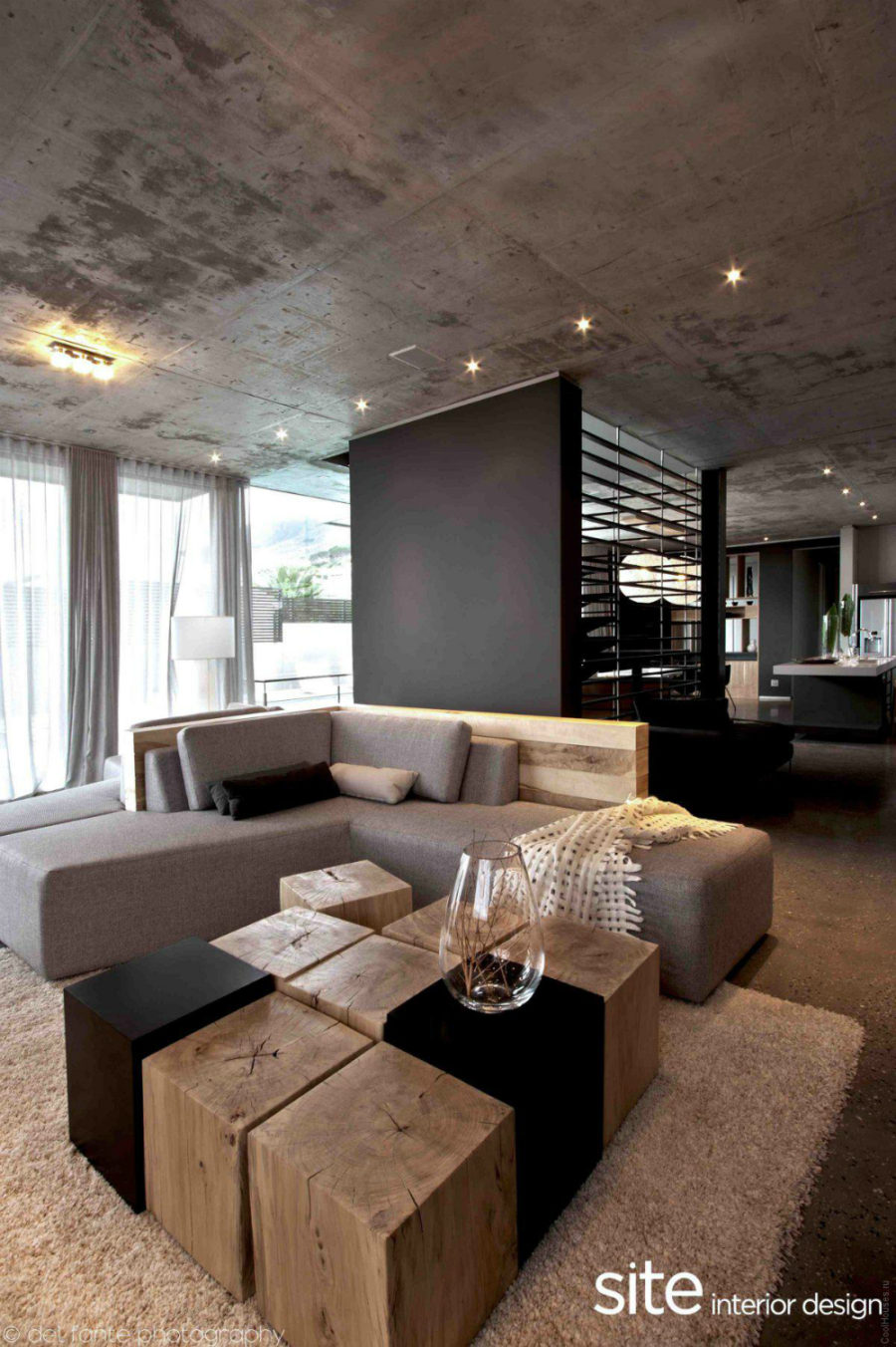 Contemporary Concrete Living Room