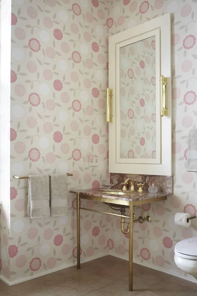 Lust worthy statement bathroom wallpapers for Floral bathroom wallpaper