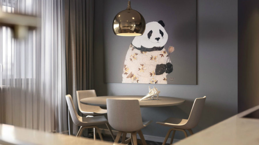 Cute panda artwork for a stylish grey dining room